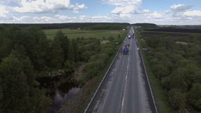 Landscape of the road from a bird`s-eye view stock video