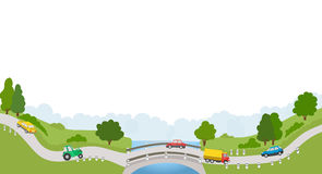 Landscape with road and cars on white background Royalty Free Stock Photos