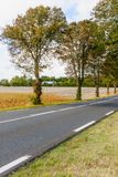 Landscape of road and countryside in the Pays de la Loire Stock Images