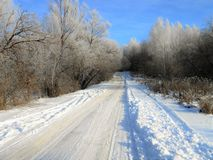 Old road in the wintertime. royalty free stock images