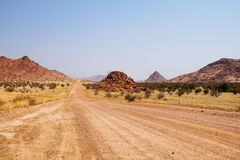 Landscape and road in Damaraland area Royalty Free Stock Images