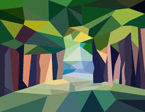 Landscape road in forest. Polygonal abstract illustration of road in forest. EPS Royalty Free Stock Photography