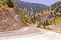 Landscape and road through mountains at central part of Crete island Royalty Free Stock Photos