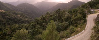 Landscape. The road among the mountains from Guantanamo to Baracoa, Cuba Royalty Free Stock Images