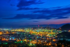Landscape of road and oil refinery. Factory between sun rise time Stock Photo