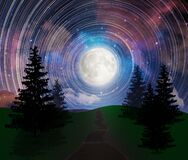 Free Landscape Road, Path, Full Moon Rising, Fractals Universe Sky, Highways Road In Rural Scene Landscape Royalty Free Stock Image - 180108626