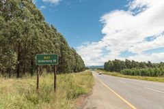Landscape on road R617 near Underberg in Kwazulu-Natal. Landscape on road R617 near Underberg in the Kwazulu-Natal Province of South Africa. A distance sign Stock Photography