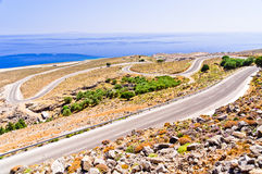 Landscape, road and sea at south side of Crete island Royalty Free Stock Image
