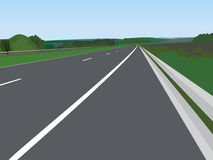 Landscape with road - vector. Illustration Stock Photo