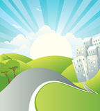 Landscape with road.Vector summer day Royalty Free Stock Image