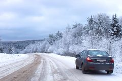 Landscape Road in the winter forest with snow covered Stock Images