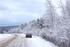 Landscape Road in the winter forest with snow covered Royalty Free Stock Photos