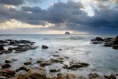 Landscape of rock coast and beautiful cloud stock image