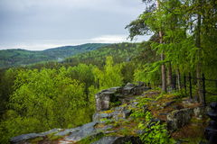 Landscape with rock in forest. Czech Republic Royalty Free Stock Image