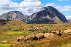 Landscape with rock formation in central Madagascar Stock Photos