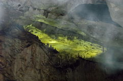 Landscape of rock formation inside the cave Magura near  village Rabisha Royalty Free Stock Image
