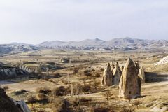 Landscape and Rock Formation near Göreme in Cappadocia, Turkey. Landscape and Fairy Chimney Rock Formation near Göreme in Cappadocia, Turkey royalty free stock images