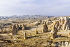 Landscape and Rock Formation near Göreme in Cappadocia, Turkey. Landscape and Fairy Chimney Rock Formation near Göreme in Cappadocia, Turkey stock photography