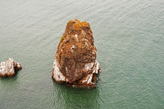 Landscape of rock protruding from the ocean near San Francisco Royalty Free Stock Image