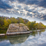 Landscape with rock on river Royalty Free Stock Photography
