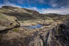 Landscape with rocks of Hardangervidda near Odda Stock Images