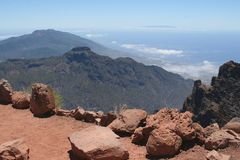 View from the top of the mountains over the ocean Royalty Free Stock Photography
