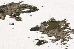 Landscape with rocks and snow on sunny day Stock Image