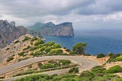 Landscape of rocky coast before a storm under gloomy dramatic sky stock photos