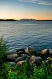 Landscape with rocky coastline Royalty Free Stock Photos