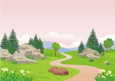 Landscape with rocky hill, Lovely and cute scenery cartoon design. Suitable for wallpaper, background, kid book, game background and other royalty free illustration