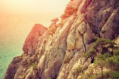Landscape with rocky mountains and sea. Nature stock images