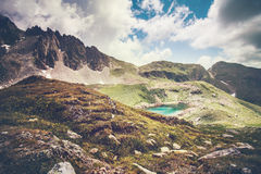 Landscape Rocky Mountains and turquoise Lake Stock Images