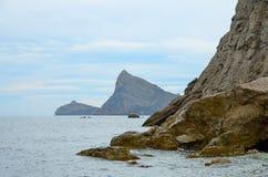 Landscape on rocky sea coast Stock Photos
