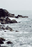 Landscape rocky tropical beach. Stock Photo