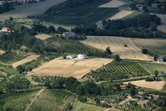 Landscape in Romagna at summer from Sogliano al Rubicone Stock Images