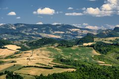 Landscape in Romagna at summer from Sogliano al Rubicone Royalty Free Stock Photo