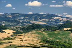 Landscape in Romagna at summer from Sogliano al Rubicone Stock Photos