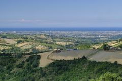 Landscape in Romagna at summer from Sogliano al Rubicone Royalty Free Stock Image