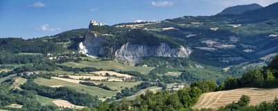 Landscape in Romagna at summer:, view of San Leo Royalty Free Stock Image
