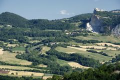 Landscape in Romagna at summer:, view of San Leo Stock Photo