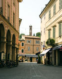 Landscape Romagna. View of a typical medieval street in Rimini, italy Stock Images