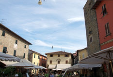 Landscape of Romanesque square in Medieval town Montekatini Alto, Italy Stock Photography