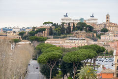 Landscape of Rome. Italy from the Oranges Garden. The garden of the Oranges is the name used to describe the park Savelli, a park in Rome of about 7,800 m² Royalty Free Stock Photo