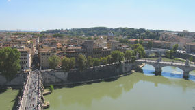 Landscape of Rome with the Tiber river Royalty Free Stock Photography