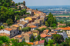 Landscape with roofs of houses in small tuscan town in province Royalty Free Stock Photo