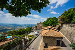 Landscape with roofs of houses in small tuscan town in province Stock Photos