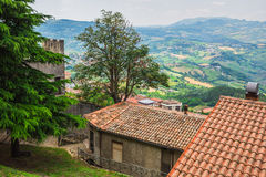 Landscape with roofs of houses in small tuscan town in province Royalty Free Stock Images