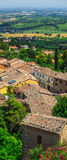 Landscape with roofs of houses in small tuscan town in province Stock Image