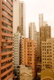 Landscape Rooftops of the orange buildings in hongkong Stock Photography