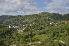 Landscape with Rosia Montana village, Romania, Europe stock images